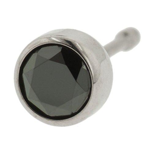 Steel Navel Body Jewelry Threadless Titanium Bezel-Set Gem End: 16g High Polish, Gem: 3mm, Black CZ Gem