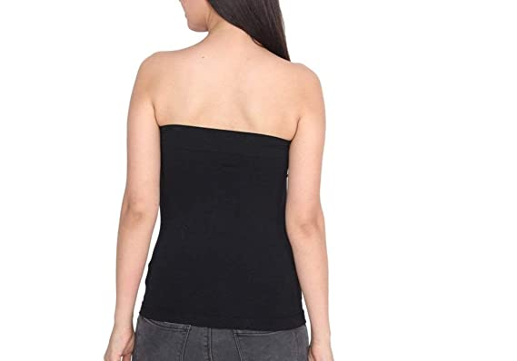 ef844ab5800 Ritu-Creation Women s Girl s Strapless Stretchable Long Bandeau Tube Top  Camisole (Free Size)-Black  Amazon.in  Clothing   Accessories