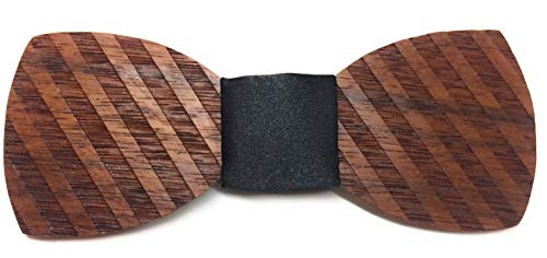 Bolivian Rosewood Bow Tie with a diagonal Striped Pattern (black Satin)