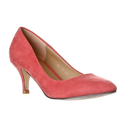 Riverberry Women's Katy Pointed, Closed Toe Low, Kitten Heel Pumps, Coral Pink Suede, 7.5