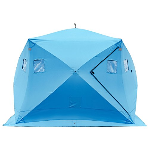 Tangkula Pop-up Ice Shelter 4-Person with Detachable Ventilation Windows & Carry Bag Frost Resisting...