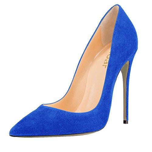 Guoar Femmes Stiletto Grande Taille Chaussures Bout Pointu Brevets Dames Solides Pompes Pour Lieu De Travail Robe Partie C-skyblue-daim
