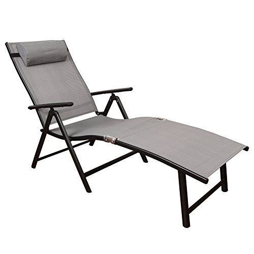 TOUCAN OUTDOOR Deluxe Aluminum Beach Yard Pool Portable Folding Reclining Adjustable Chaise Lounge Chair Recliner Outdoor Patio, Gray