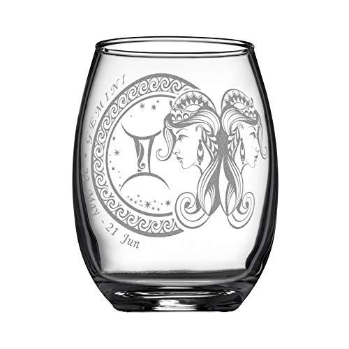 - Laser Engraved Zodiac Star Sign Wine Glass (Gemini); 15oz Glass