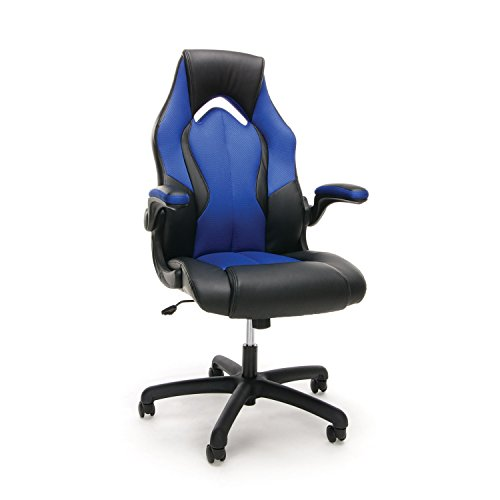 Essentials Racing Style Leather Gaming Chair – Ergonomic Swivel Computer, Office or Gaming Chair, Blue (ESS-3086-BLU)