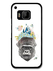 Black and White Gorilla Illustration and Pastel City Collage carcasa de HTC One M9
