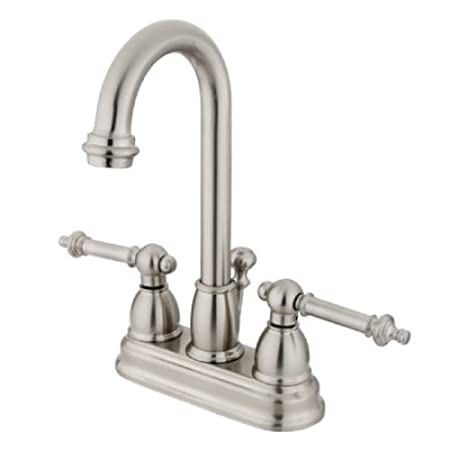 Polished Chrome Kingston Brass KB3611TL Deck Mount Lavatory Faucet with Lever Handle and Pop-Up