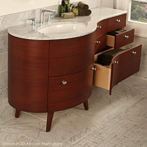 Free-standing under-counter vanity for one Bathroom Sink on the right, with four small drawers and two large bottom drawers, brushed nickel pulls included, Taupe with Fine - Bathroom Lacava Vanity
