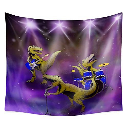 Qchengsan Dinosaur Tapestry,Dinosaurs Play Guitar Drums and Sing Songs Rock Roll Theme Under Spotlight Design Tapestry Watercolor Tapestry Mandala Bohemian Tapestry for Home Decor (70x90 inch, -