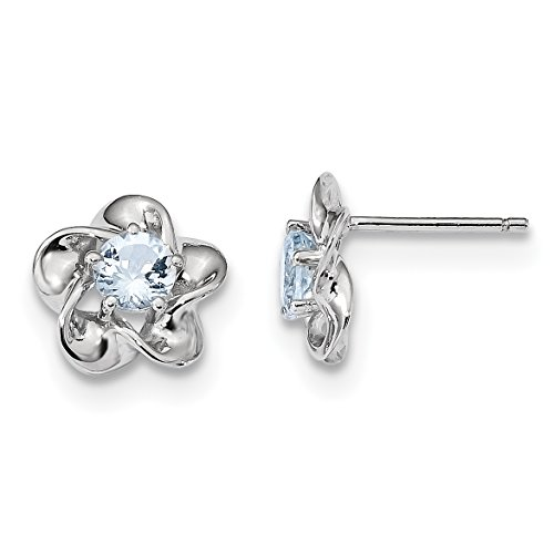 ICE CARATS 925 Sterling Silver Floral Blue Aquamarine Post Stud Earrings Birthstone March Flower Set Fine Jewelry Gift Valentine Day Set For Women Heart (Birthstone Flower March)