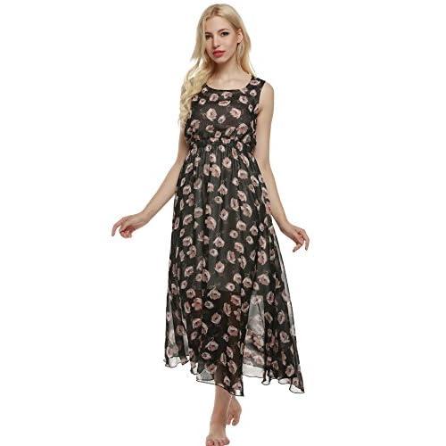 72e6fce9d Acevog Vestido Largo Estampado Mujer de Playa sin Mangas de Gasa Floral de  Verano 80%