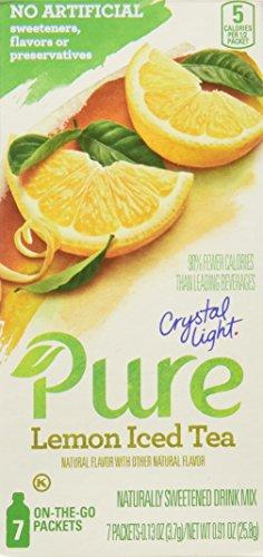 Crystal Light Pure On The Go Lemon Iced Tea Drink Mix, 0.91 Ounce (Pack of 12)