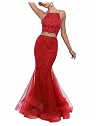 XingMeng 2 Piece Organza Mermaid Prom Dresses Backless Beaded Evening Gowns