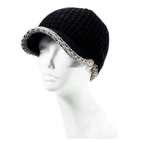 Trim Brim Hat (AN- Winter Warm Fashion Plain Knit Cap Hat Fleece Lined Wool Blend w / Contrast Trim , Visor Brim)