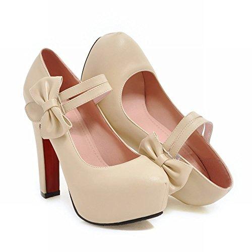 Mee Shoes Damen süß mit Schleife Klettband Pumps Beige