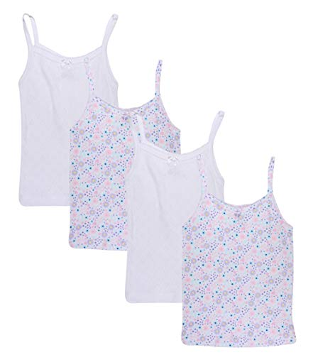 Rene Rofe Girl (4 Pack Super Soft Pointelle Camisole Tank Top (Florals/White, Large / 10-12)'