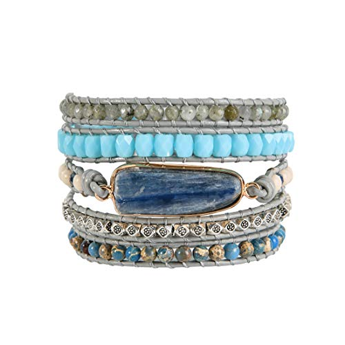 YGLINE Natural Stone Leather Bracelet Exquisite Mix Stones Women Fashion 5 Layers Wrap Bracelet Boho Chic Bracelet Jewelry(Blue-Topaz 3)