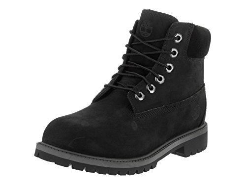 Price comparison product image Timberland 6 inch Premium with Faux Shearling Boot (Toddler/Little Kid/Big Kid), Black/Grey, 4.5 M US Big Kid