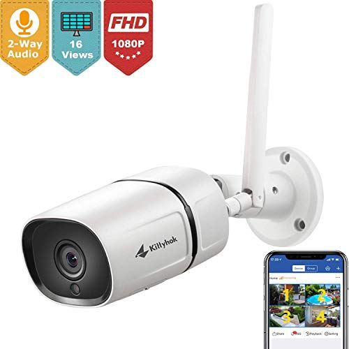 Kittyhok Wireless Security Camera Outdoor, 1080P Full HD 2.4Ghz Wire or WiFi Surveillance Cameras with Two-Way Audio Motion Detection Night Vision IP65, Works with iOS Android Mac Windows