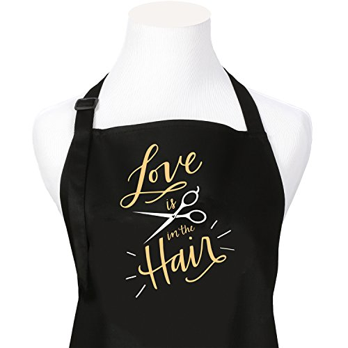 Love is in The Hair Stylist Professional Salon Or Barber Apron with Screen Printed Gold Design 3 Pockets Adjustable Neck…