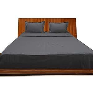 LaxLinens Juego de sábanas Juego de cama de algodón egipcio de 200hilos + 15pulgadas) extra profundo bolsillo UK King, elefante Gray/Dark Gray Stripe