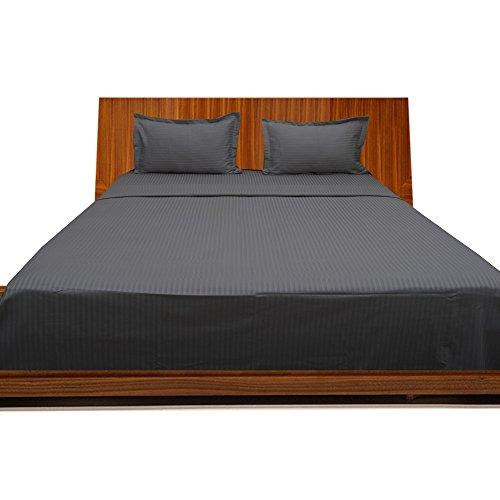 Gray Striped Cotton Italian (Dreamz Bedding- 650-Thread-Count Egyptian Cotton Bed Sheet Set 21 Inch Extra Deep Pocket Grand King Size, Elephant Gray/ Dark Gray Striped 650TC 100% Cotton Sheet Set)