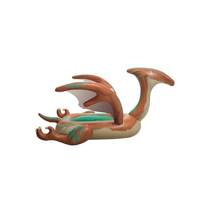 41mcHiipW1L Tiene un diseño a todo color de dinosaurio con grandes alas con agarraderas para flotar con seguridad El complemento para la piscina o mar para que tus hijos se diviertan mientras se refrescan Tiene unas medidas de 198x164 cm indicado para 1 niño
