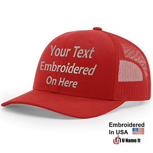 (Custom Richardson 112 Hat with Your Text Embroidered Trucker Mesh Snapback Cap (Adjustable Snapback Solid Colorway, Red))
