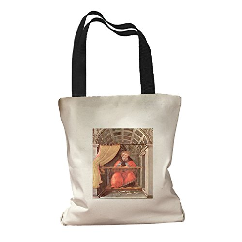 St Augustine In Exam (Botticelli) Canvas Colored Handles Tote Bag - - St Shopping Augustine Center