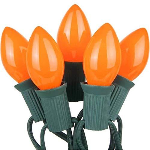 and Christmas Strings 4 Pack, Orange 7 Watt Light Bulbs C7 Steady Burning Ceramic Candelabra Base -Great for Night Lights