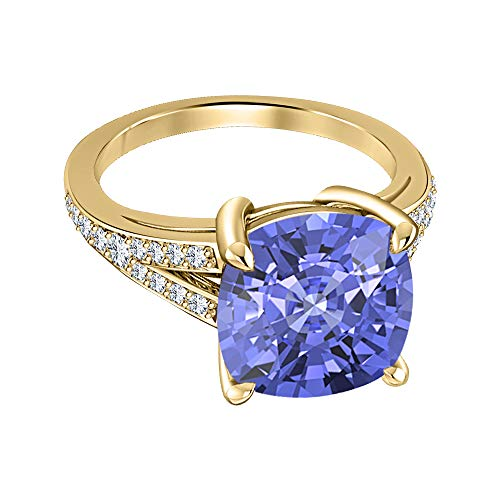 Engagement 4-Prong Halo Ring 4.00Ctw Cushion Cut Tanzanite & CZ Diamond 14k Yellow Gold Over .925 Sterling Silver for Womens ()