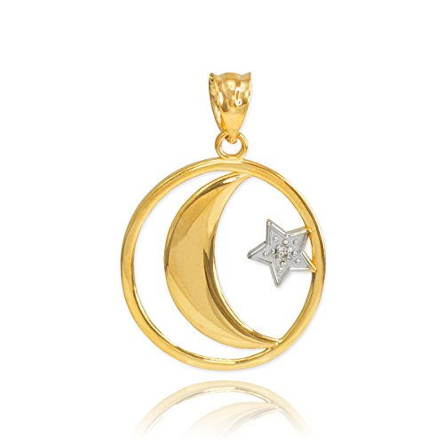 Middle Eastern Jewelry Fine 10k Yellow Gold Diamond-Accented Islamic Charm Crescent Moon and Star Charm Pendant