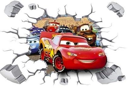 Cars,Kids,Sticker,3D,Lightening McQueen,Wall Art,Bedroom,Decal,Mural
