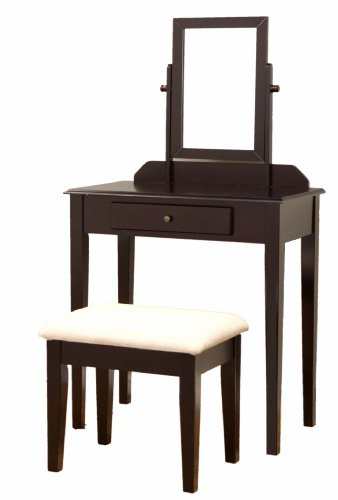 Wood Bedroom Vanity Makeup Table (Frenchi Furniture Wood 3 Pc Vanity Set in Espresso Finish)