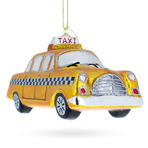 BestPysanky Yellow Taxi Blown Glass Christmas Ornament