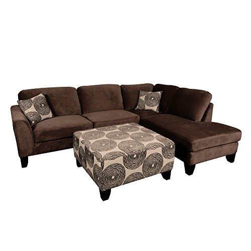 Porter Designs U4606 Malibu Sectional with Swirl Ottoman, Brown