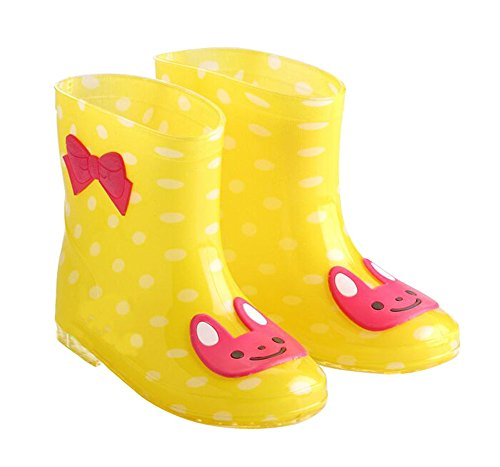 Cute Starry Kids' Rain Boots Yellow Rabbit