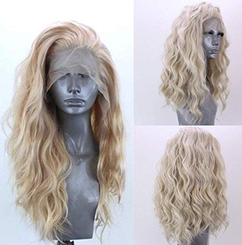 Golden Lace Front Wig Luckyfine Long Loose Curly Long Loose Curly Wig, Natural Replacement Full Wigs for Women Wavy Fashion Long Synthetic Wigs,Heat Resistant Synthetic Fiber Wigs Side Middle Part 24'