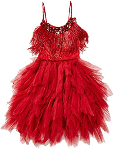 (Big Girls Sequins Feather Layered Ruffled Flower Girl Pageant Dress,Red)