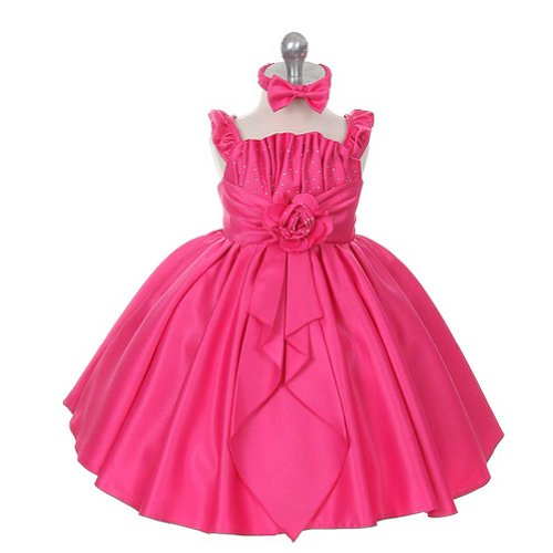 Rain Kids Baby Girls 6M Fuchsia Satin Jewel Ruffle Pageant (Jewel Sleeveless Satin)
