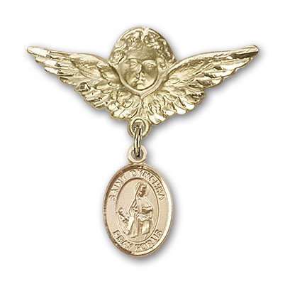 Religious Obsession Gold Filled Baby Badge with St. Dymphna Charm and Angel with Wings Badge Pin by Religious Obsession