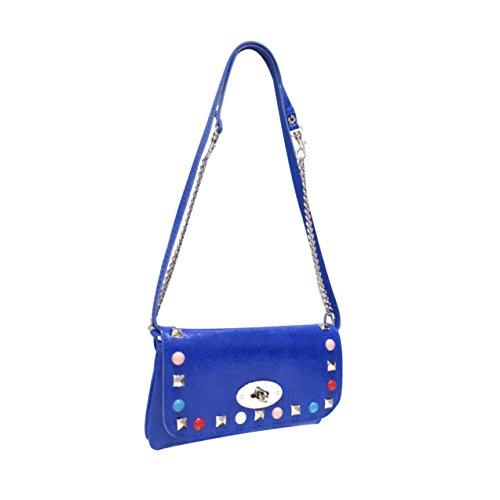 de en soirée cuir pochette cuir Hariette sac sac Bleu de pochette été pochette en soirée ornement clouté 6g5BBSqw