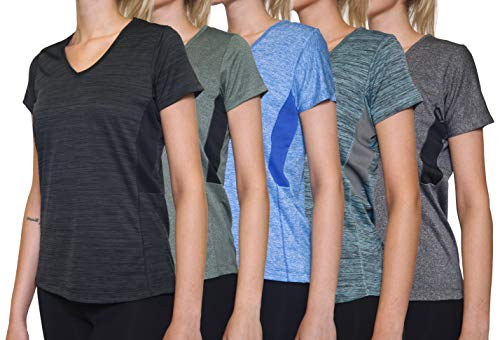 5 Pack: Womens V Neck T-Shirt Ladies Yoga Top Athletic Active Wear Gym Workout Zumba Exercise Running Quick Dry Fit Dri Fit Clothes - Set 4,XXL
