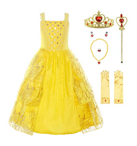ReliBeauty Girls Sleeveless Sequin Princess Belle Costume Dress up with Accessories, Yellow, -