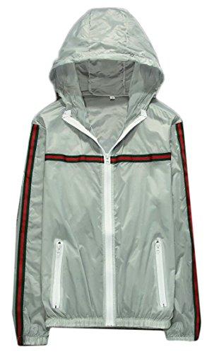 Stripe Jackets Stylish Color Hood Pure Sun Sleeve Gery Protection Gocgt Mens Long wvXxaEIWqR