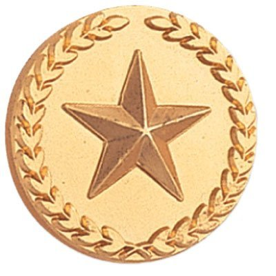 7/8 Inch Gold Star with Wreath Lapel Pin - Package of 12, Poly Bagged