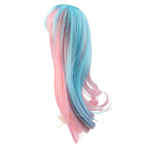 MagiDeal Fashion Doll Wig Hairpiece Long Curly Hair with Bang for 1/3 BJD SD Dollfie Doll DIY Making and Repair Accessories Multicolored Gradient