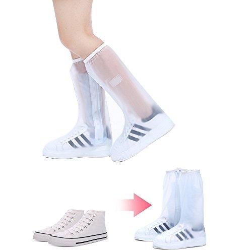 Doble Reutilizable Sellada a Prueba de Polvo a Prueba de Viento Protección de Cierre de Cremallera Resistente al Desgaste Blanco Zapatos Planos Alta Cubre para Día Lluvioso L (28.5cm) XXXL (32.5cm)