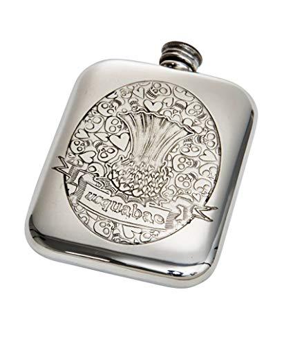 Wentworth Pewter- Usquabae Thistle Skull 6oz Pewter Cushion, Pocket Flask, Spirit Flask, Skull and Hearts Pattern
