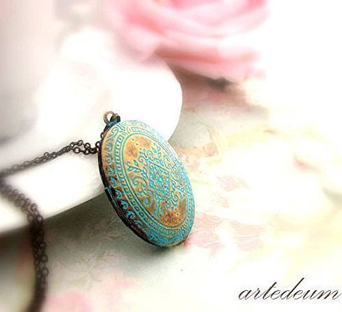 - Locket Necklace with blue Moroccan carvings in antique bronze Vintage style oval photo box